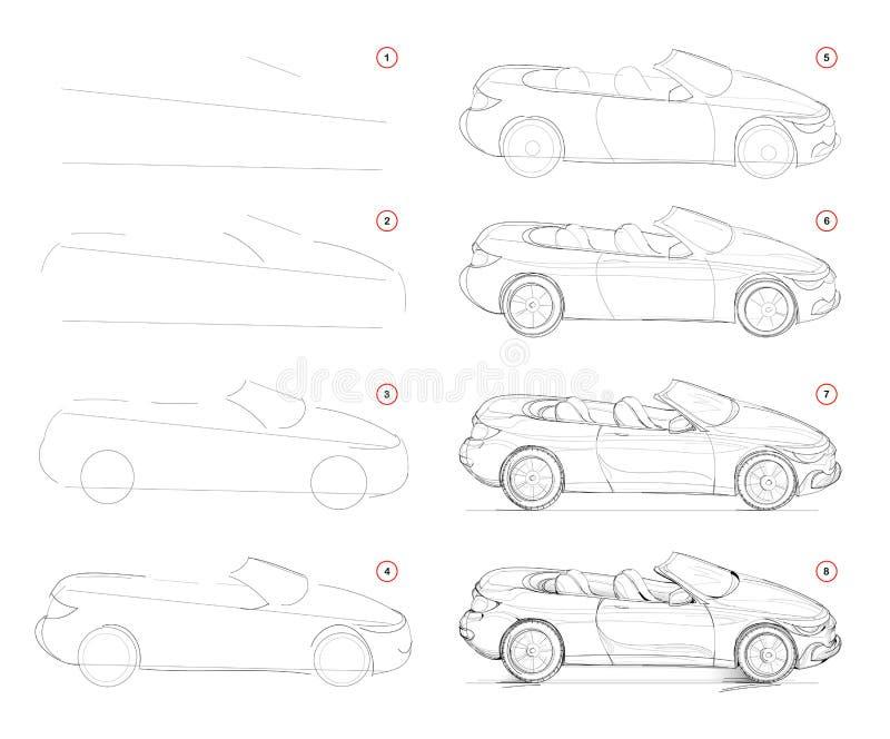 Hoe je stapsgewijs een modieuze, modieuze, converteerbare auto tekent Stap voor stapsgewijze potloodtekening maken Onderwijspagin stock illustratie