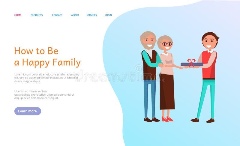 Hoe te Gelukkige Familie, de Cake van de Verjaardagsviering te zijn stock illustratie
