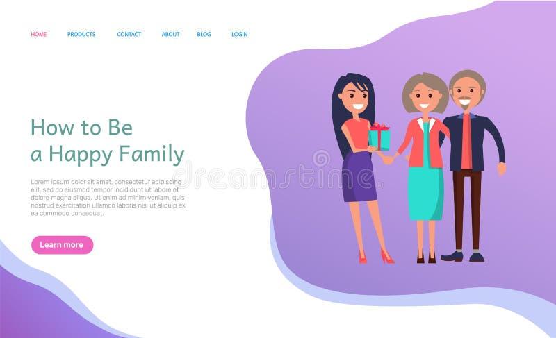 Hoe te Gelukkige Familie Gekweekte Dochter en Ouders te zijn royalty-vrije illustratie