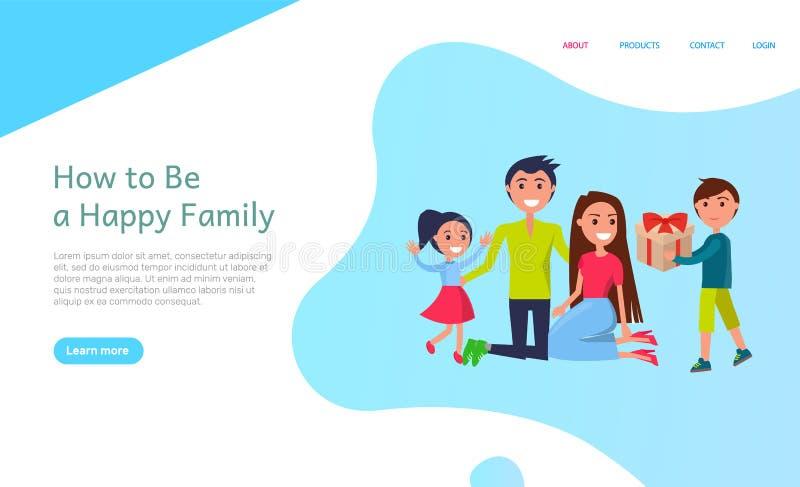 Hoe te Gelukkige Familie, Vakantieviering met Jonge geitjes te zijn stock illustratie