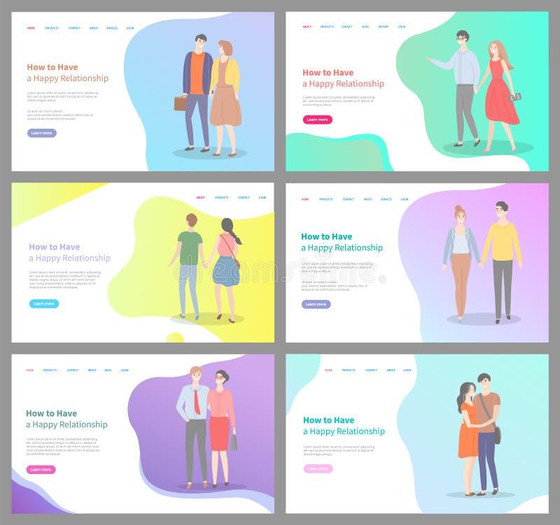 Hoe te om de Gelukkige Geplaatste Pagina's van Verhoudingsinternet te bouwen royalty-vrije illustratie