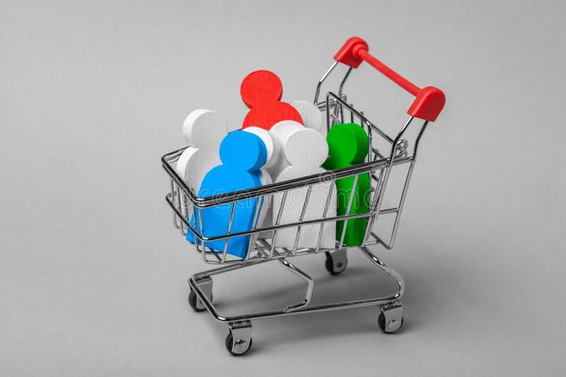 Hoe te om de juiste werknemers te kiezen Welke werknemers nodig zijn Aankoop van personeel De het het winkelen karretje en mensen stock afbeeldingen