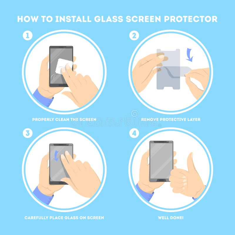 Hoe te om een beschermer van het het schermglas te zetten royalty-vrije illustratie