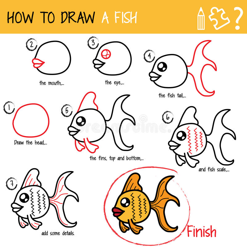 Hoe te om een vis te trekken vector illustratie