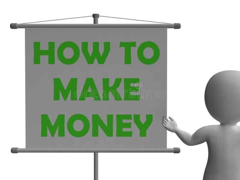 Hoe te om Geld te maken Middelenrijkdom inschepen en stock illustratie