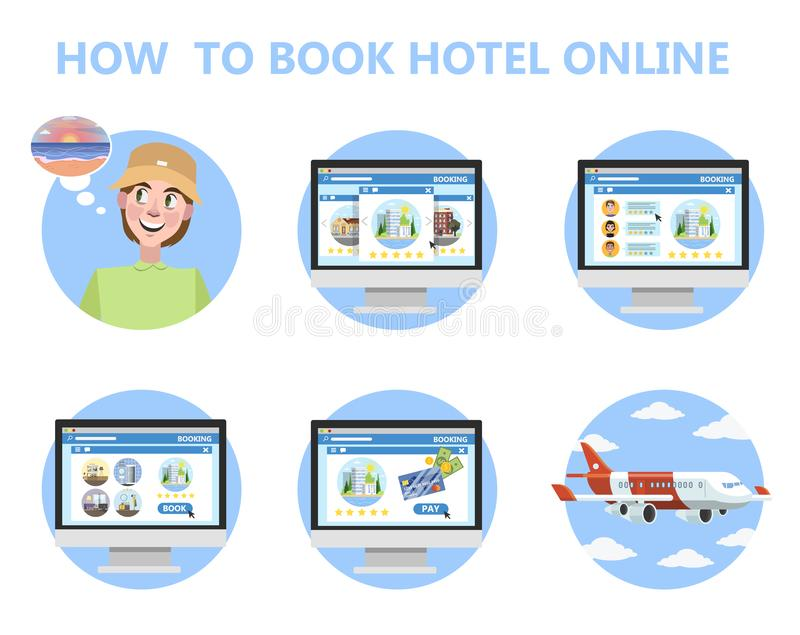 Hoe te om hotel online instructie voor beginner te boeken vector illustratie