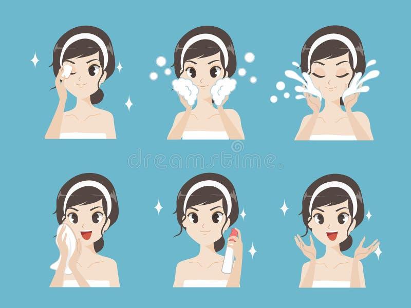 Hoe te om make-upstap het gezichts reinigen schoon te maken vector illustratie