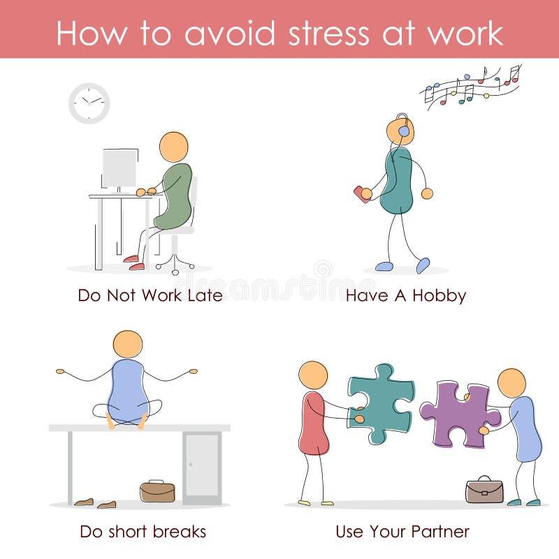 Hoe te om spanning op het werk te vermijden royalty-vrije illustratie