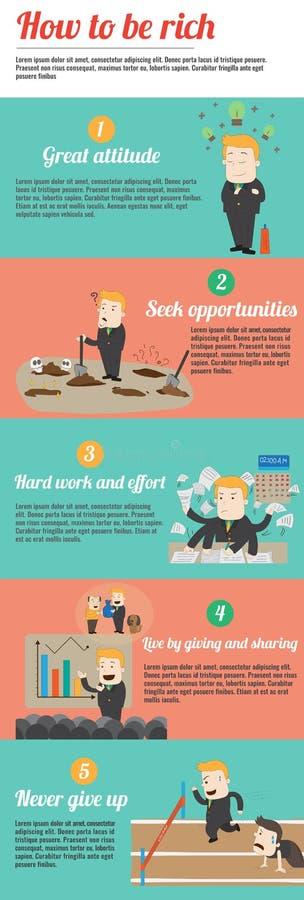 Hoe te rijk infographic malplaatjeontwerp met layo van de steekproeftekst te zijn royalty-vrije illustratie
