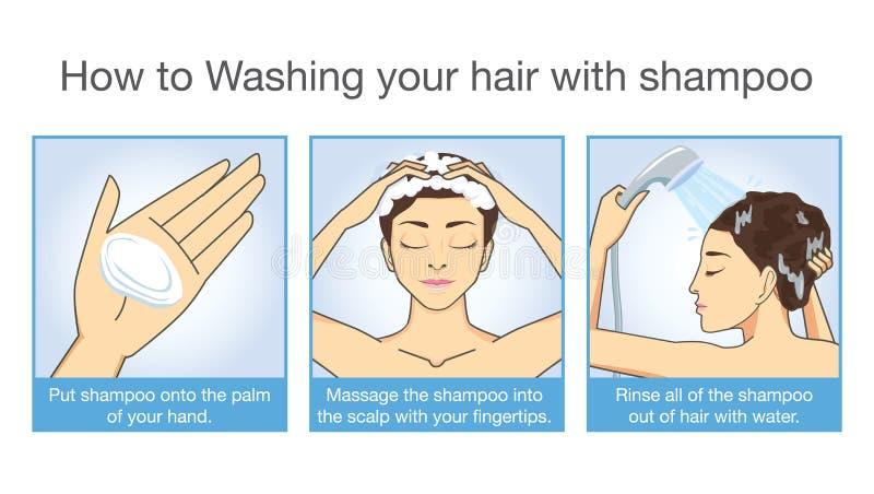 Hoe te shampoo uw haar royalty-vrije illustratie