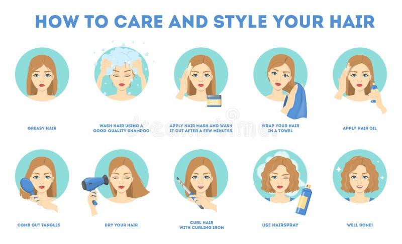 Hoe te voor uw haarinstructie te geven vector illustratie