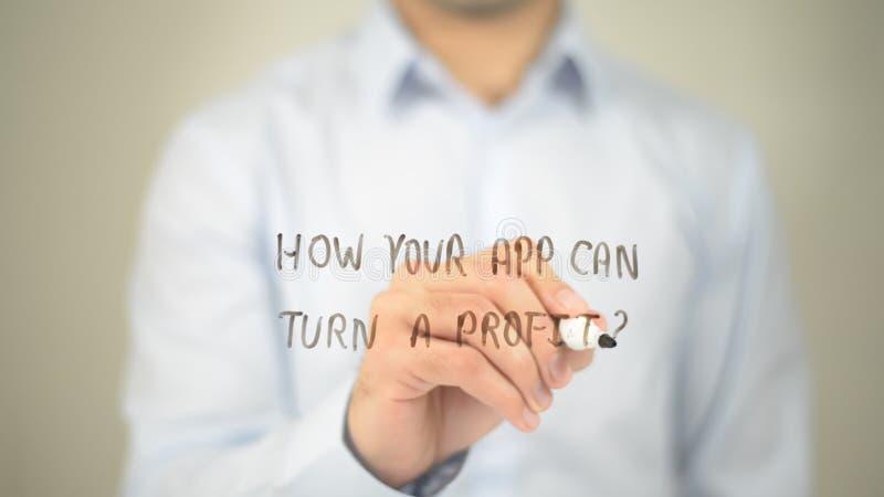 Hoe Uw App kan een Winst draaien? , mens die op het transparante scherm schrijven royalty-vrije stock foto's