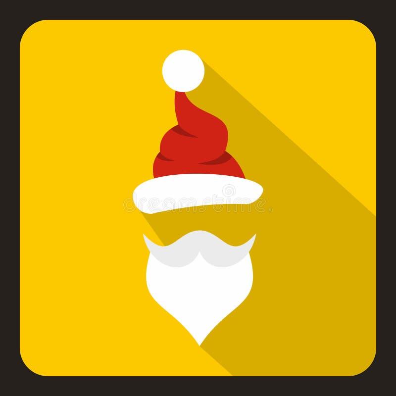 Hoed en baard van Santa Claus-pictogram, vlakke stijl stock illustratie