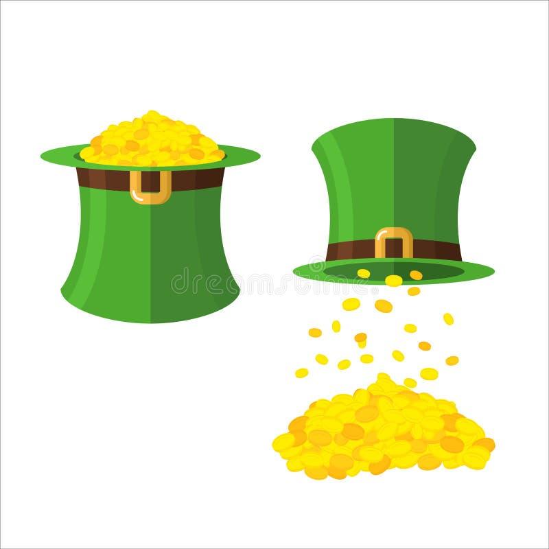Hoed en gouden kabouterreeks Gouden muntstukken in hoedenhoge zijden magisch vector illustratie
