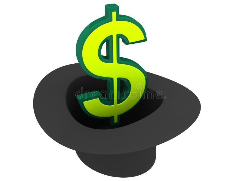 Hoed met dollarteken stock illustratie