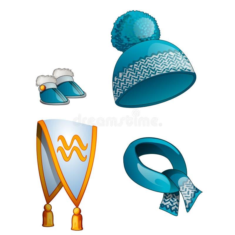 Hoed, sjaal, laarzen, warme de winterkleren in blauw stock illustratie