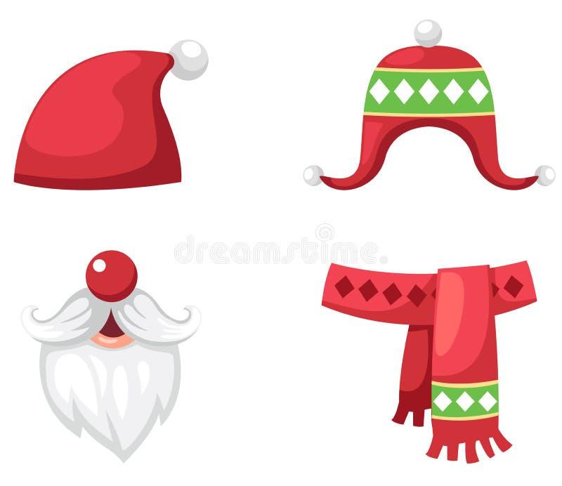 Hoed van de Kerstmis de vastgestelde rode Kerstman, sjaal en hoed geïsoleerde vector royalty-vrije illustratie