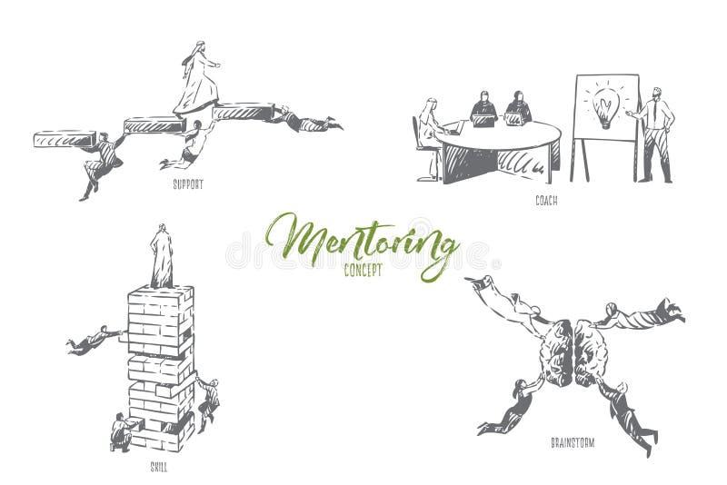 Hoede, steun, bus, vaardigheid, de schets van het uitwisselings van ideeënconcept stock illustratie