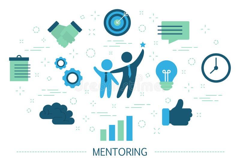 Hoedeconcept Het geven van advies voor carrièresucces stock illustratie