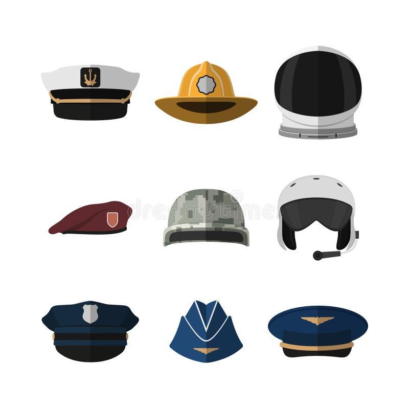 Hoeden en helmen Hoofddeksel van militair, vliegenier, politieagent en kapitein Pictogram van GLB in vlakke stijl royalty-vrije illustratie