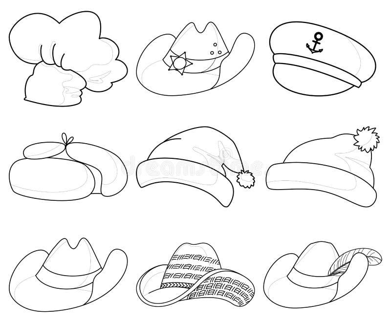 Download Hoeden, Vastgestelde Contouren Vector Illustratie - Illustratie bestaande uit hoofddeksel, achtergrond: 54075631