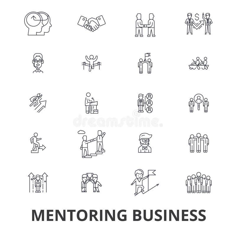 Hoedezaken, mentor, het trainen, bedrijfsbegeleiding, trein, hulp, de pictogrammen van de groepswerklijn Editableslagen Vlak Ontw royalty-vrije illustratie