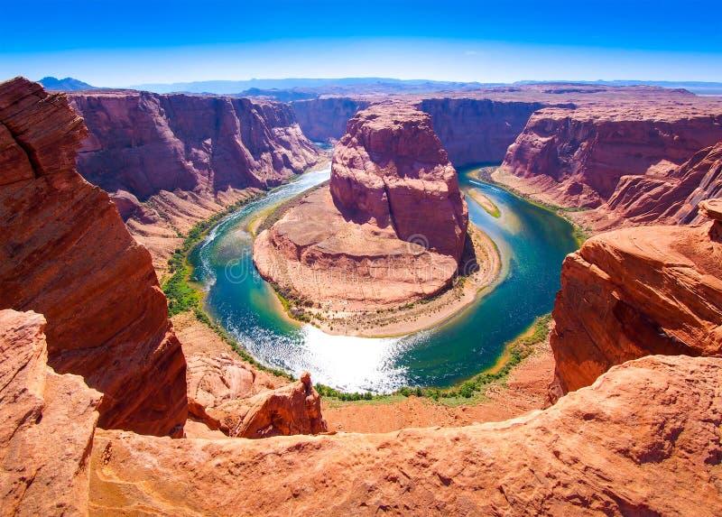 Hoefijzer Kromming op de Rivier van Colorado dichtbij Pagina, Arizona, de V royalty-vrije stock afbeelding