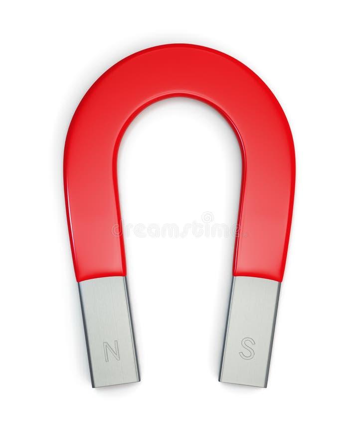 Hoefijzer magneet die op wit wordt geïsoleerde stock afbeelding