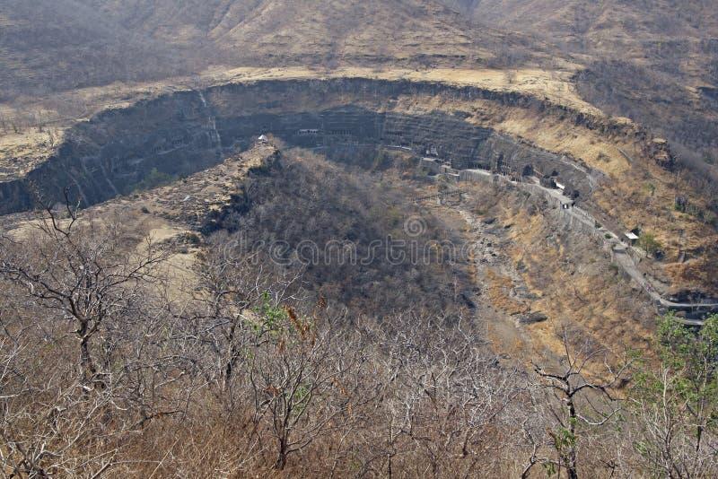 Hoefijzer Vallei die Holen Ajanta bevat stock afbeeldingen