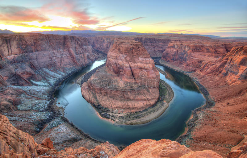 Hoefijzerkromming, pagina, Arizona, Verenigde Staten royalty-vrije stock foto