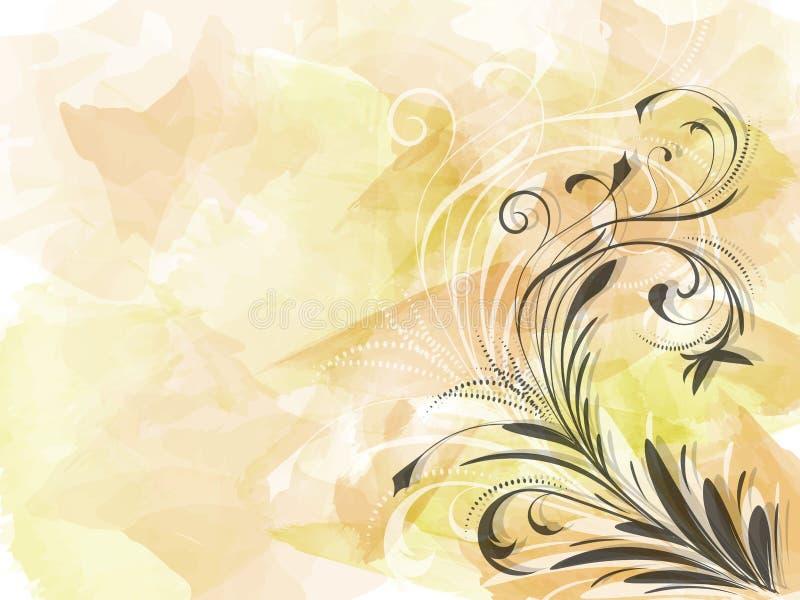 Hoek van abstract zwart bloemenornament op gele achtergrond watercolour borstelslagen royalty-vrije illustratie