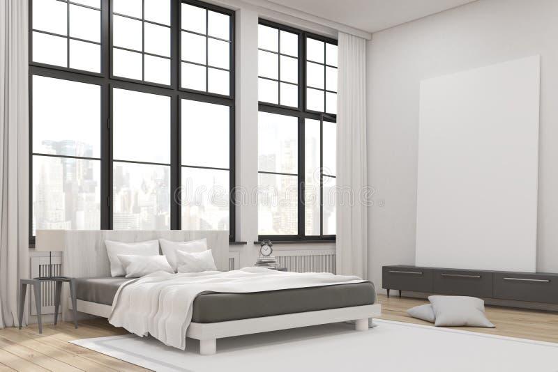 Hoek van een hoofdslaapkamer met een bed, een reeks laden en een grote verticale affiche die zich op het bevinden royalty-vrije illustratie