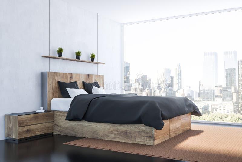 Hoek van grijze slaapkamer royalty-vrije illustratie