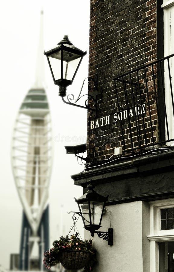 Hoek van het Café van het Kruideiland in Portsmouth, Groot-Brittannië stock foto's