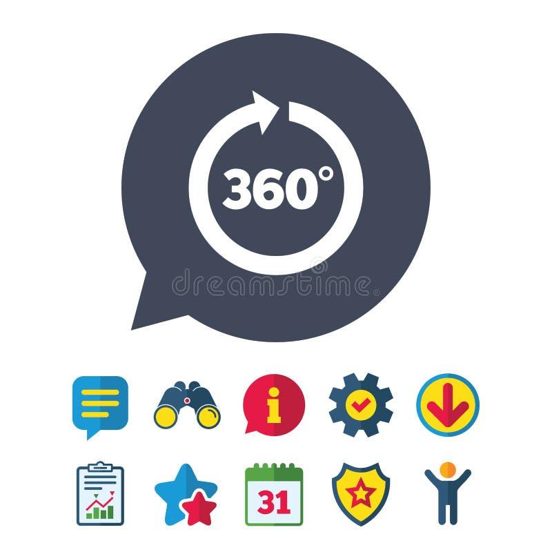 Hoek 360 van het tekengraden pictogram Het symbool van de meetkundewiskunde royalty-vrije illustratie