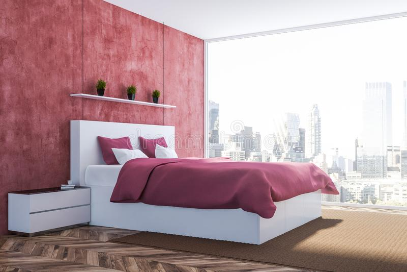 Hoek van rode slaapkamer stock illustratie