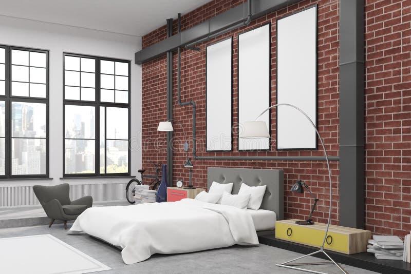 Hoek van slaapkamerbinnenland met bakstenen muren en drie smalle verticale affiches op hen royalty-vrije illustratie