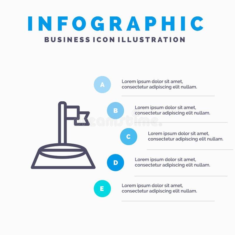 Hoek, Vlag, Golf, het pictogram van de Sportlijn met infographicsachtergrond van de 5 stappenpresentatie royalty-vrije illustratie