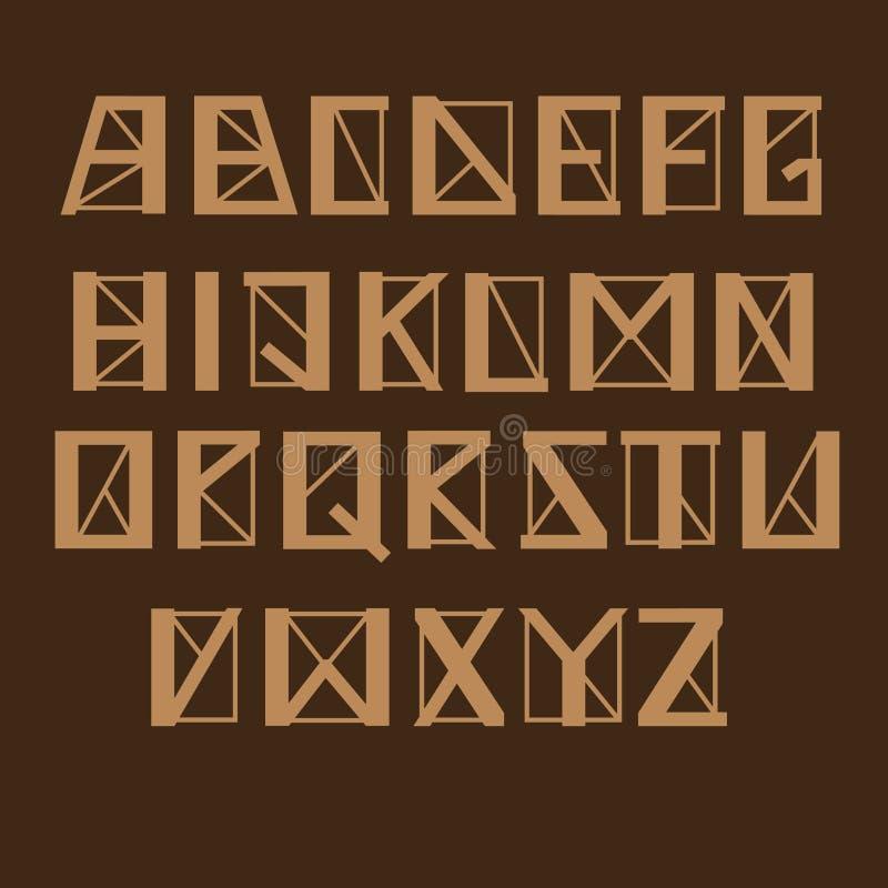 Hoekig geomertic alfabet, vectorreeks Brieven met dikke en dunne lijnen en scherpe hoeken, bruine kleur vector illustratie
