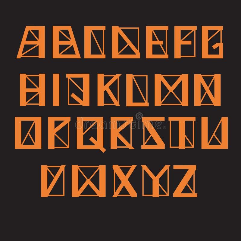 Hoekig geometrisch alfabet, vectorreeks Brieven met dikke en dunne lijnen en scherpe hoeken, oranje kleur stock illustratie