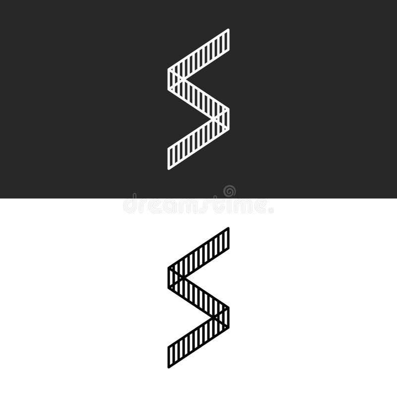 Hoekig het embleemmonogram van de vorm geometrisch brief S De primitieve vorm van de pictogramomheining vector illustratie