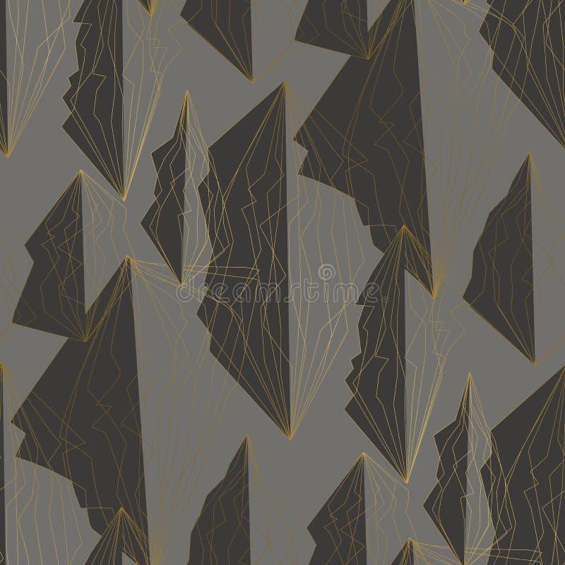 Hoekig lijnen en veelhoeken naadloos patroon royalty-vrije illustratie