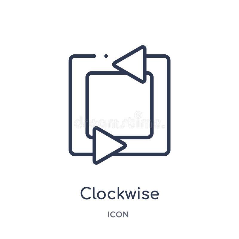 hoekig pijlenpictogram met de wijzers van de klok mee van de inzameling van het gebruikersinterfaceoverzicht Dun die lijn met de  royalty-vrije illustratie