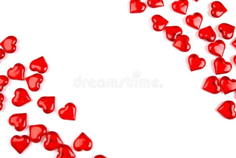 Hoekkader van harten wordt, op witte achtergrond worden geïsoleerd gemaakt die royalty-vrije stock afbeelding