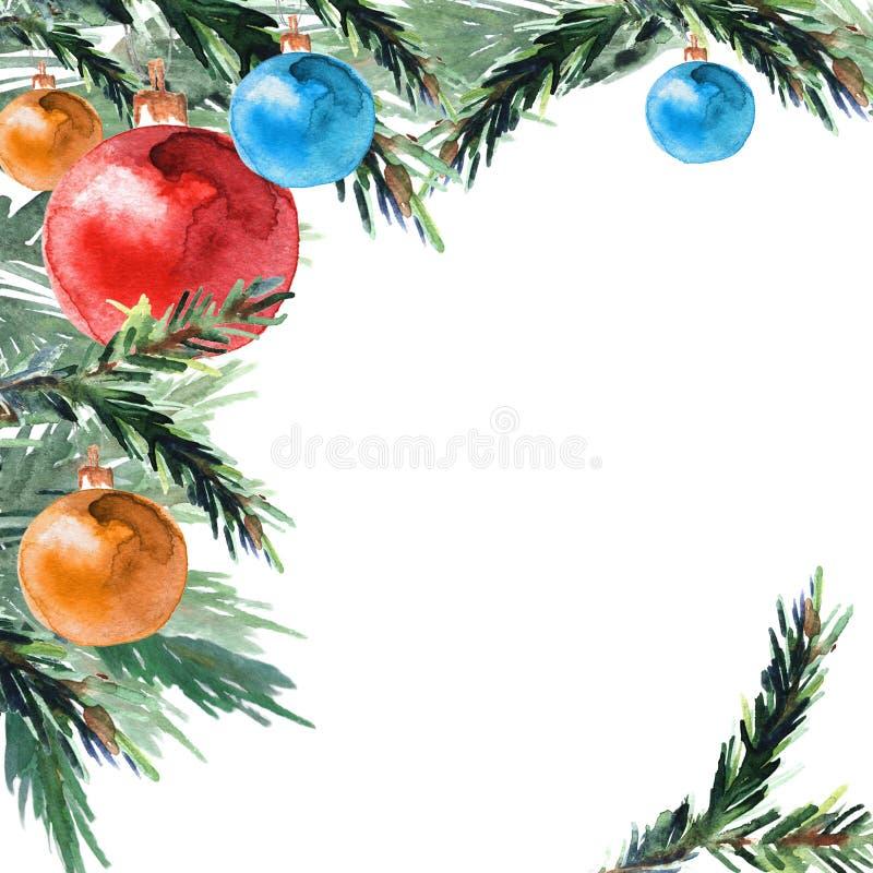 Hoekpatroon van Kerstmisballen en pijnboomtakken vector illustratie