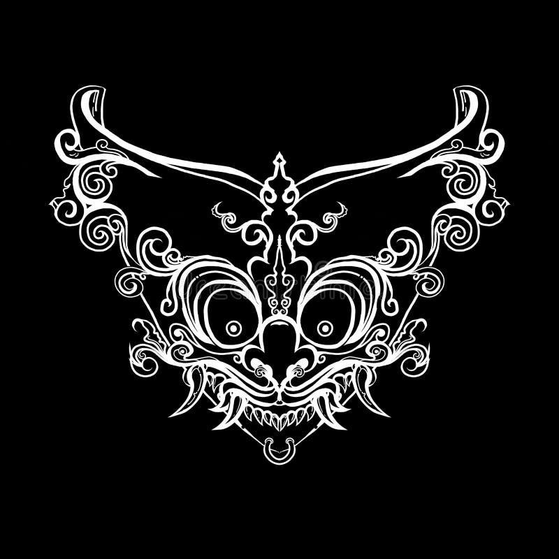 Hoektand vier van oud masker royalty-vrije illustratie