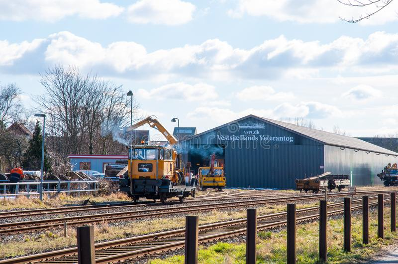 Building and work trains belonging to the local vintage train club stock photography