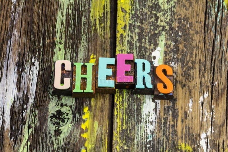Hoera hallo bar pub slogan groet party drink royalty-vrije stock foto