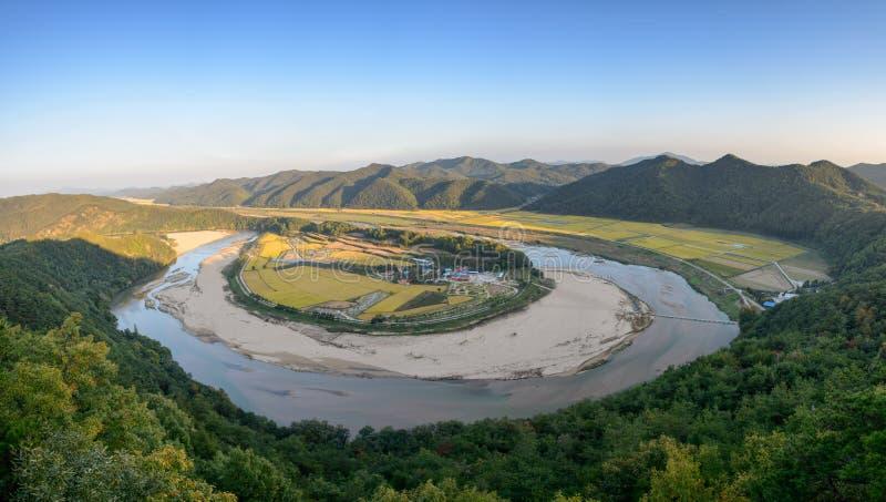 Hoeryongpo betrenched meander stock afbeeldingen