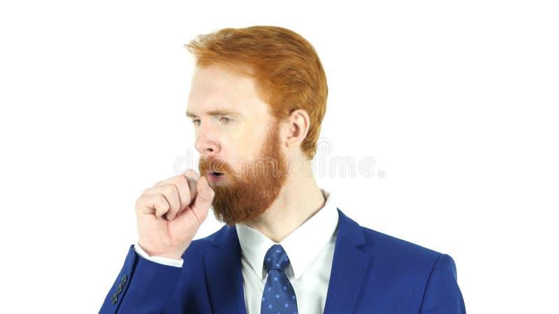 Hoest, de Rode Zakenman Coughing van de Haarbaard royalty-vrije stock afbeelding